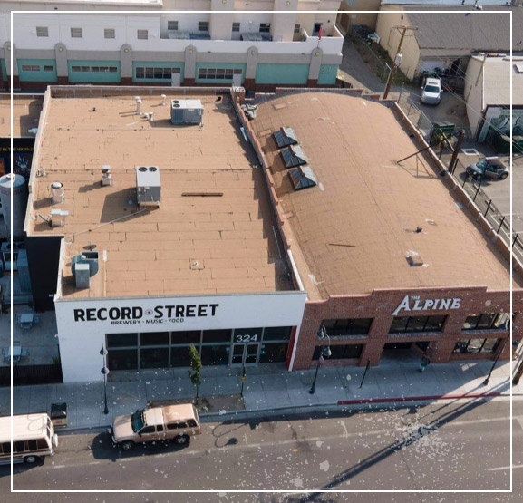 Ariel view of Record Street and The Alpine