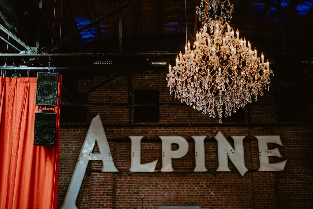 Alpine Sign inside building
